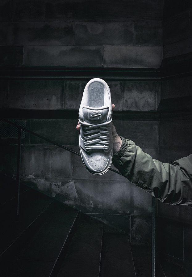 "The Nike Dunk SB Low Staple ""NYC Pigeon"" sculpted on Bardiglio marble by Alasdair Thomson for Jeff Staple"