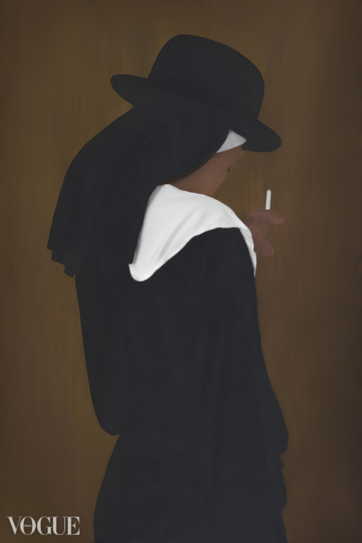 Nun with cigarette and bowler hat.