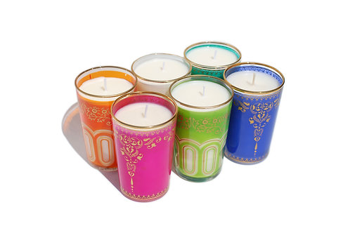 Moroccan Tea Glass Candles, Set of Six Assorted