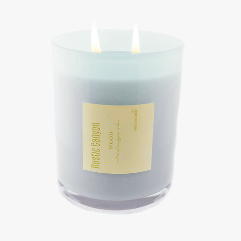 Large White Rustic Canyon Double Wick Candle (2 pk)