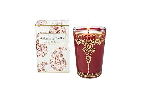 Red Moroccan Tea Glass Candle, Citronella (6 pk)