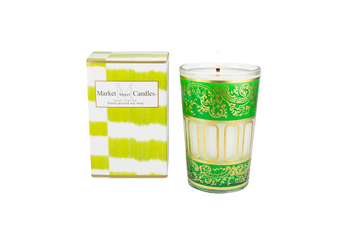 Green Moroccan Tea Glass Candle, Citronella (6 pk)