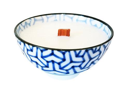 Blue and White Wood Wick Candle, Geometric Mosaic/ Print #7 (4 pk)