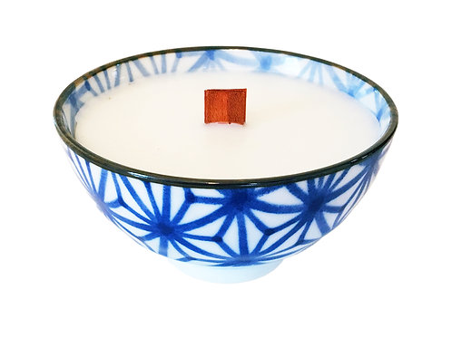 Blue and White Wood Wick Candle, Star Mosaic/ Print #5 (4 pk)