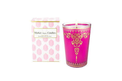 Pink Moroccan Tea Glass Candle, Citronella (6 pk)