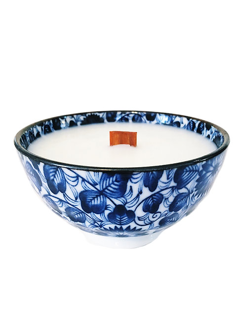Blue and White Wood Wick Candle, Lotus/ Print #2 (4 pk)