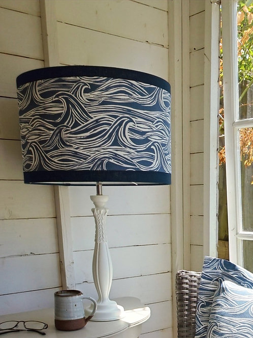 North Coast Lampshade with Navy Blue Edging