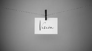 Tarjeta colgando con la palabra visión