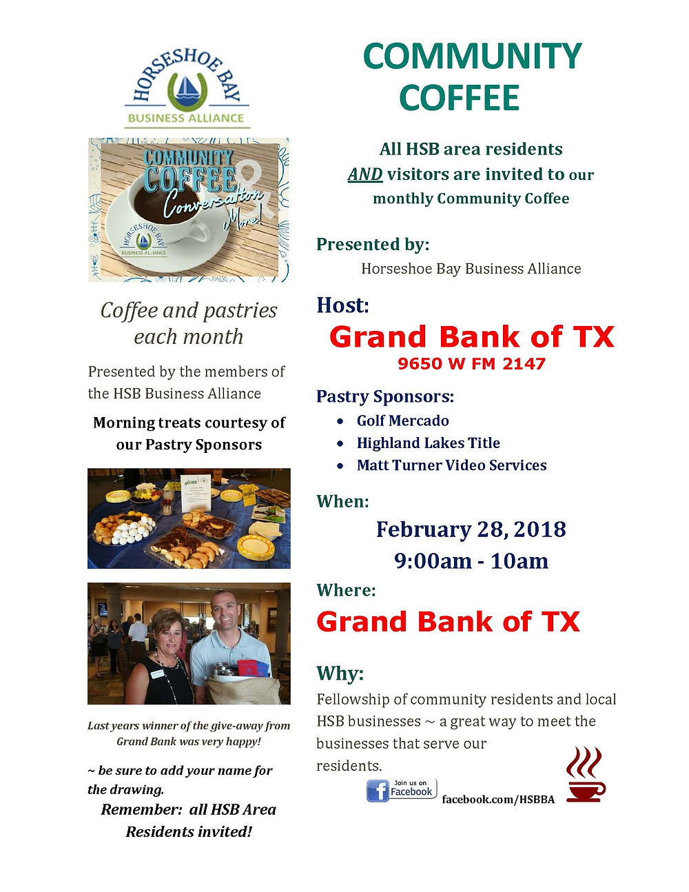 Horseshoe Bay Community Coffee Flyer