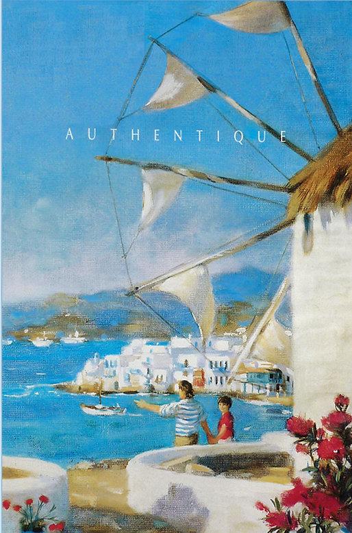 """Pierre Dominique Lafitte a collaboré activement à la communication du tour opérateur Vacances Heliades. Il a réalisé les visuels de leurs brochures de voyage de 1987 à 2000 ainsi que leurs affiches publicitaires qui seront diffusées en France et dans l'union européenne. Ici les """"Les moulins de Mykonos """" montre le peintre et son fils. Ce visuel a été utilisé pour leur campagne nationale de publicité en 1995"""