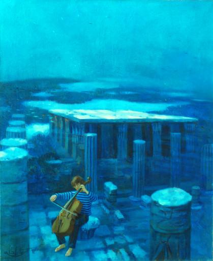 """""""dernier chant pour une cité engloutie """" est un tableau de référence de la periode symboliste de Pierre Dominique Lafitte.C'est la passion de l'auteur pour l'Egypte ancienne qui est à l'origine de ce tableau. Là ce sont les ruine d'un temple du royaume de koush qui est représenté immérgé.Cette vue plongeante marque une descente vers les splendeurs oubliées des temps anciens ; une quête des origines. cette oeuvre fait partie du fond permanent exposé au musée de la CMC Magnetics Corporation à TaÏwan."""