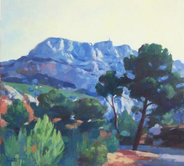 """""""L'Aube""""représente la Montagne ste Victoire à Aix en Provence ce tableau est une oeuvre de Pierre Dominique Lafitte"""