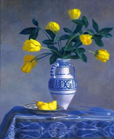 tulipes jaunes dans un vase tunisien peinture de P.Dominique Lafitte