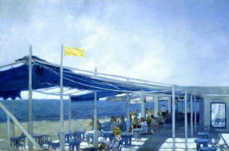 """""""Le bar de la jeté """" est une huile sur toile peinte en 1985 par Pierre Dominique LAFITTE."""