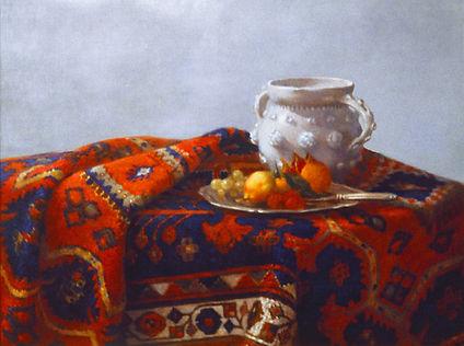 """""""tapis et vase chinois"""" belle harmonie du tapis bleu et rouge.tableau de pierre dominique Lafitte"""