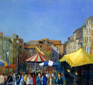 """""""Le Magicien"""" est une oeuvre de1980 de Pierre Dominique Lafitte. Ce n'est autre que le forum des Cardeurs à Aix en Provence qui a servis de décor à ce tableau"""