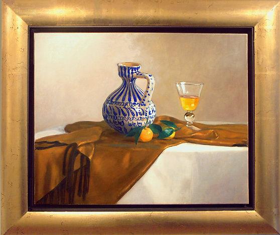 """""""Mandarines"""" tableau de Pierre Dominique Lafitte. poterie blanche rayée de bleu verre et mandarines sur soie mordorée"""
