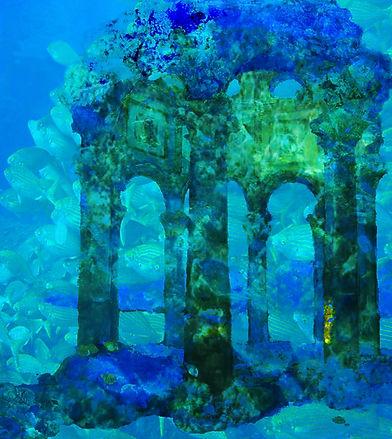 """""""Atlantide """" est une des versions numérique de Pierre Dominique Lafitte qui evoque les mondes disparus et les architectures sous marines .Ici c'est un baptistère oublié dans  l'immensité bleue de la mer"""