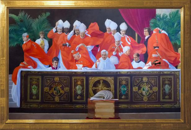 """"""" Le souffle de Dieu """"peint par Pierre dominique Lafitte est une oeuvre de commande. Elle dépeind un moment particulier des funérailles de Jean Paul II. Cette scène a été réalisé à partir de documents photographiques mais néanmoins largement recomposée. Ce coup de vent magistral s'est réellement produit et symbolise à sa façon le renouveau initié par Jean Paul II et le retour de l'Eglise dans sa veritable mission humaine et spirituelle."""