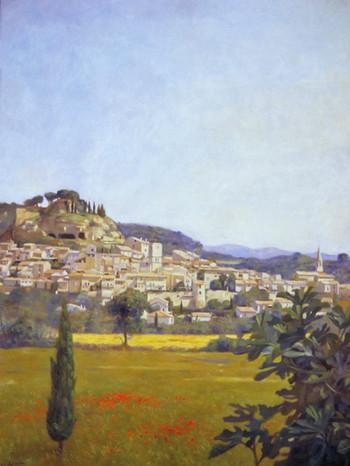 """""""village de Cadenet """" oeuvre de Pierre Dominique Lafitte  peinte à l'huile sur toile en 1994."""