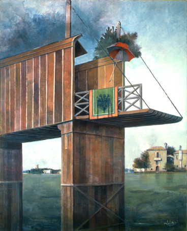 """""""le Pont Venitien"""" réalisé en 1979 est une oeuvre de Pierre Dominique Lafitte. Le pont représenté n'est autre que celui du Rialto à Venise tel qu'il etait avant de s'effondrer en 1524 puis remplaçé par l'actuel qu'on connait. C'est une oeuvre du peintre venitien Vittore Carpaccio """"le miracle de la relique de la croix """" peint en 1496 qui est la source d'inspiration de ce tableau qui s'inscrit dans la periode symboliste du peintre qui cherche alors à traduire ses visions intérieures. Il y regne un etrange silence , le temps y est suspendu comme cette ombrelle dont l'envolée ici nous interroge."""