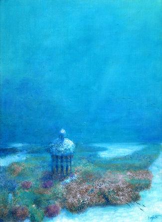 """""""Fond sous-marin """" est une des premières oeuvres de Pierre Dominique Lafitte sur le thème des mondes disparus engloutis par la mer. Là ce sont les structures d'un temple perdu dans l'immensité aquatique. Ce tableau, depuis 2006 est dans le fond permanent du Musée de la CMC Magnetics Corporation à TaÏwan."""
