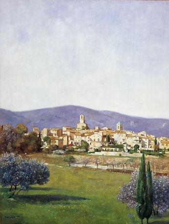 """""""Lourmarin"""" est un tableau de Pierre Dominique Lafitte peint en 1994. Il sagit d'une huile sur toile"""