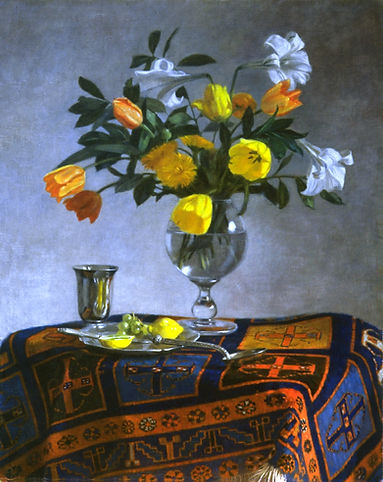 """nature morte"""" Le Tapis""""tableau de lys et tulipes dans un vase de cristal sur un tapis"""