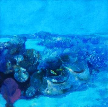 """""""La barrière de corail""""  est une oeuvre en technique mixte réalisée par Pierre Dominique Lafitte en 2016. Elle fait partie d'une suite de tableaux que  l'artiste a consacré au monde sous-marin"""