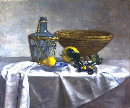 """""""l'Italienne"""" peinture de pierre dominique Lafitte  montrant une bouteille tressée  poire dans une coupe blanche et bleue et une vannerie posé sur une nappe de lin blanche"""