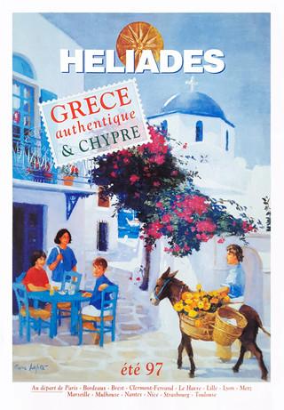 """""""Paros"""" brochure été edition 1997 réalisée par Pierre Dominique Lafitte pour le tour opérateur Vacances Héliades."""