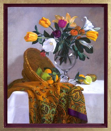 """""""Fleurs et Fruits """" est un tableau de Pierre dominique Lafitte réalisée en 2007 c'est un bouquet de fleurs dans un vase de cristal  sur une etoffe en cachemire.cette oeuvre a intégré la collection du Musée de la CMC Magnetics Corporation à TaÏwan"""
