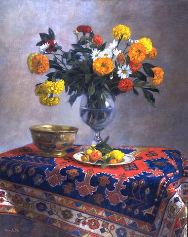 """""""Ile de France"""" peinture d'un bouquet printanier. Huile sur toile de Pierre Dominique Lafitte .Peint en 1994"""