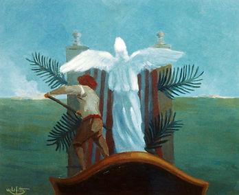 """""""L'enterrement Venitien """" est un tableau de Pierre Dominique Lafitte de 1978 peint à l'huile sur bois. Cette oeuvre est une des premières qui annonce un changement d'orientation dans le parcours du peintre. On voit ici l'influence des peintres italien ,notamment celle de Francesco Guardi pour ce qui est de la représentation d'une île de la Lagune de venise."""