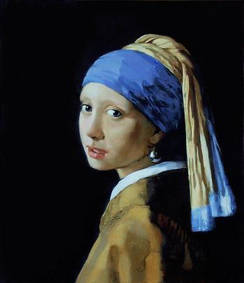 """Copie de Pierre Dominique Lafitte  d'après une oeuvre de Johannes Vermeer """" la jeune fille à la perle"""""""