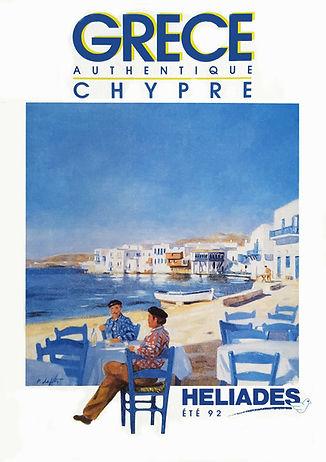 """""""Pêcheur de Mykonos"""" brochure été edition 1992 réalisée par Pierre Dominique Lafitte pour Vacances Héliades."""