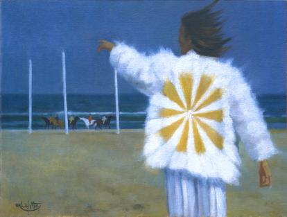 """""""l' Ange"""" est une oeuvre de 1980 de Pierre Dominique Lafitte. Elle a été peinte à l'huile sur bois. Ce tableau dont le sujet et la facture peuvent surprendre correspond encore à une periode de recherche pour le peintre. On voit ici l'influence du surréalisme."""
