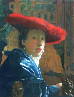 """Pierre Dominique Lafitte à réalisé des copies d'oeuvres de peintres dont les techniques le passionne et afin d'en comprendre toutes les subtilités .Ici une copie de """"la Fille au chapeau rouge"""" d''après une oeuvre de Johannes Vermeer."""