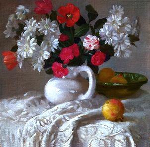 """""""Le Printemps"""" huile sur toile representant un bouquet de fleurs dans un vase en ceramique"""