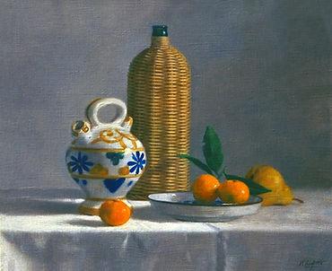 """nature morte"""" La Gargoulette"""" tableau montrant une gargoulette, une bouteille tréssée et des mandarines"""