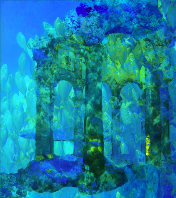 """""""l'Atlantide """" est le titre de la création numérique réalisée par Pierre Dominique Lafitte. L'univer sous marin et les ruines """" immergées dansI'oubli du temps"""" sont des thèmes réccurents pour l'artiste.Ici ce sont les ruines d'un baptistère sous la mer envahi de coraux et de poissons qui nous ramène aux premiers temps de la Chrétienté.Cette oeuvre renoue avec celles antérieures d'inspiration symbolique ."""