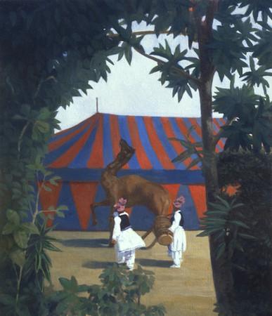 """""""Le Cirque"""" est une peinture à l'huile de Pierre Dominique Lafitte réalisée sur bois en 1982. Elle est à classer dans la période symboliste du peintre qui procède alors par association d'images dans le but de créer une scène poètique. Une synthèse entre réel et imaginaire qui nous projette dans un monde idéalis, grandiose ,empreint d'etrangeté et de mystère"""