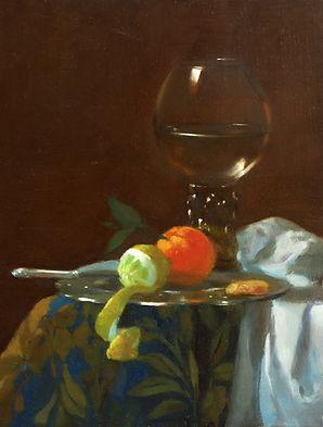 """""""variation"""" de Pierre dominique Lafitte est un tableau de composition.Il a repris en partie les motifs floraux du tapis visibles sur """"l'astronome"""" de Vermeer .Tout en s'inspirant d'une oeuvre d'un peintre de nature morte francais de la fin du 17ème siècle."""