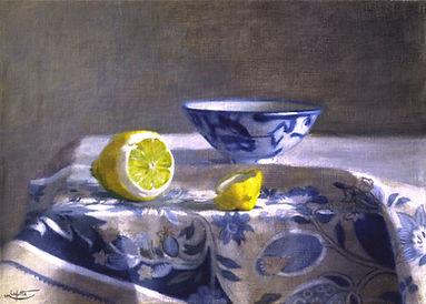"""""""citron et porcelaine"""" est une peinture-harmonie de bleu et jaune - ce tableau a été peint par pierre dominique lafitte en 1988"""