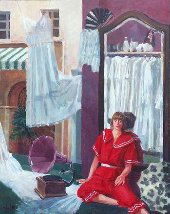 """""""Marie Laure"""" est un tableau peint par Pierre Dominique Lafitte en 1979. La jeune femme posant dans sa boutique de fripes ( robes et chemises anciennes ) etait probablement l'amie du peintre. Ce tableau est de part sa mise en scène et sa composition, une oeuvre transitoire entre un mode d'ecriture réaliste et celui qui sera defini comme symboliste."""