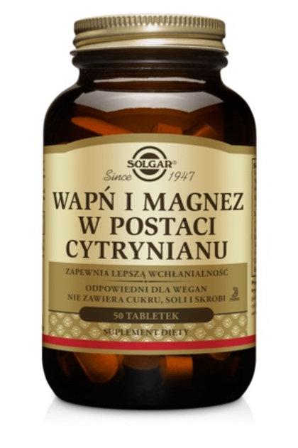 SOLGAR Wapń i Magnez w Postaci Cytrynianu 100tabl