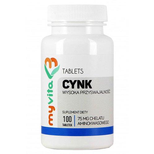 MyVita Cynk - chelat aminokwasowy 75mg, 100tabl.