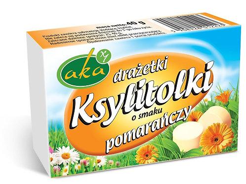 Ksylitolki drażetki pudrowe pomarańczowe 40g b/c AKA