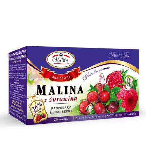 Herbata malina + żurawina 20*2g MALWA