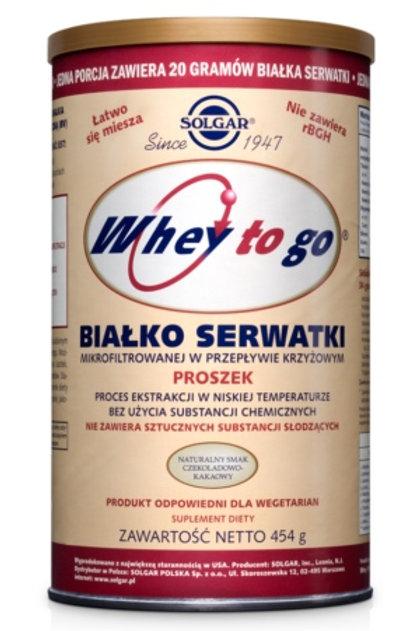 SOLGAR Białko Serwatki Whey To Go 454g Smak Czekoladowy